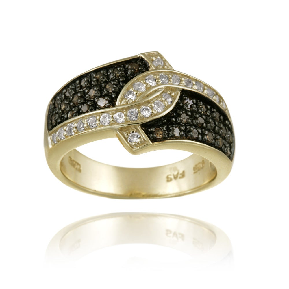 Glitzy Rocks 18k Gold over Silver 1/3ct TDW Champagne Diamond and White Topaz Ring