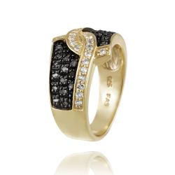 Glitzy Rocks 18k Gold over Silver 1/3ct TDW Black Diamond and White Topaz Ring