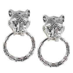 Sunstone Sterling Silver Lionhead Door Knocker Earrings