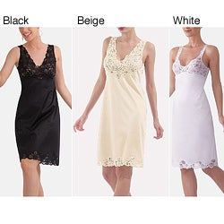 Illusion's Women's Antistatic Lace Detail Full Slip
