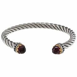 Sunstone Sterling Silver Glass Twist Cuff Bracelet