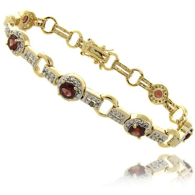Dolce Giavonna 14k Gold Overlay Garnet and Diamond Accent Bracelet
