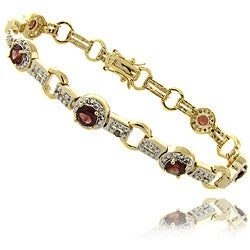 Dolce Giavonna 14k Gold Overlay Garnet and Diamond Accent Bracelet