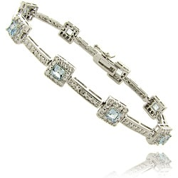 Dolce Giavonna Silver Overlay 3.00 Carat TW Blue Topaz and Diamond Accent Square Bracelet