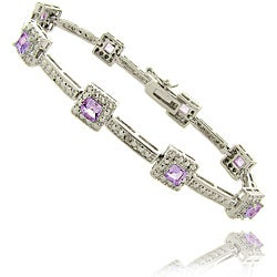 Dolce Giavonna Silverplated Amethyst and Diamond Accent Bracelet