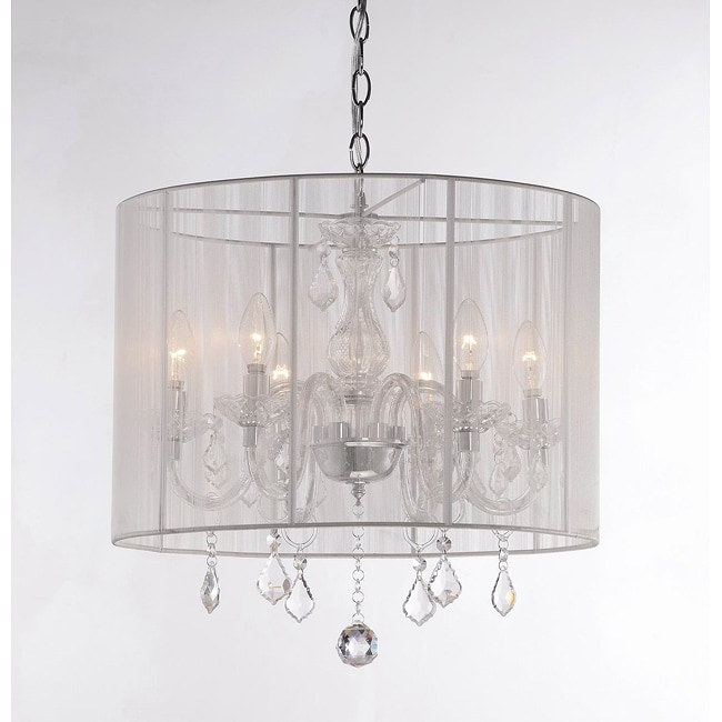 Emma white shade and iron base crystal chandelier 13978094 shopping great - White chandelier with shades ...