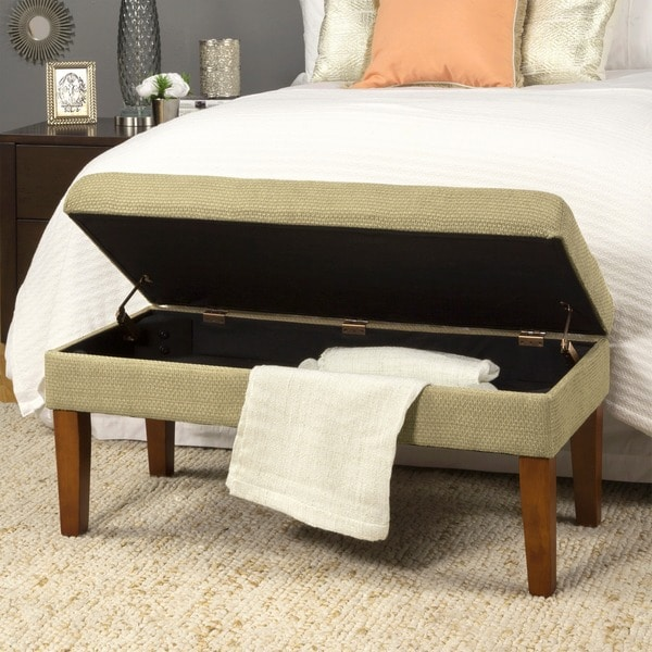 HomePop Decorative Storage Bench-Textured Tan with Gold Chenille Tweed