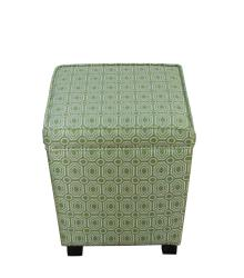 Trapezoid Spinach Geometric Fabric Storage Ottoman