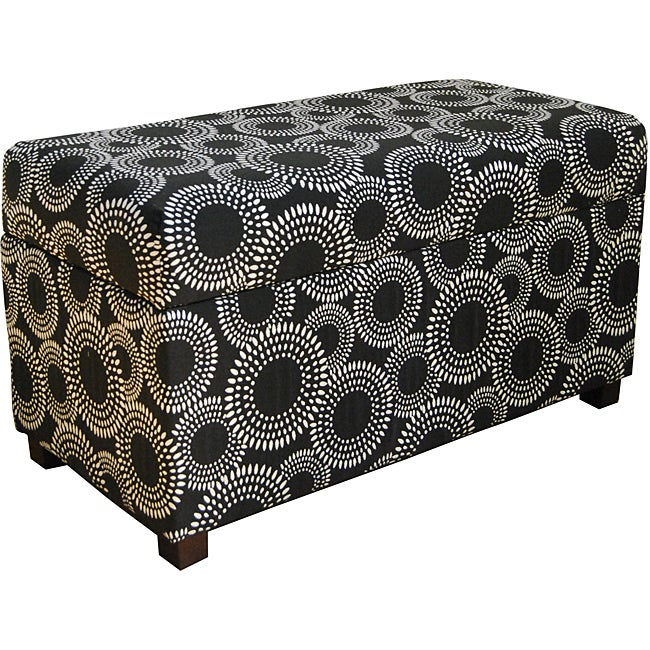 Contemporary Black Circle Dot Geometric Storage Bench