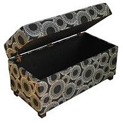 Contemporary Black Circle Dot Geometric Storage Bench