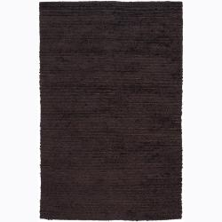 Handwoven Dark Brown Wool Blend Mandara Shag Rug (7'9 x 10' 6)