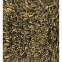 Handwoven Ivory/Gold/Brown Mandara Shag Rug (5' x 7'6)