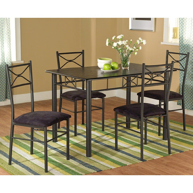 set includes a dining table and four dining chairs materials