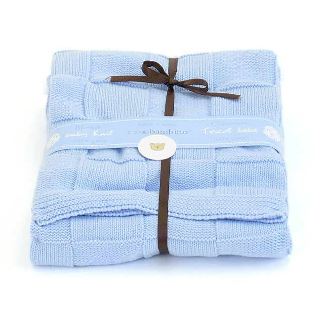 Piccolo Bambino Blue Knitted Checker Baby Blanket