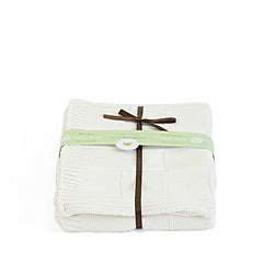 Piccolo Bambino Cream Knitted Checker Baby Blanket