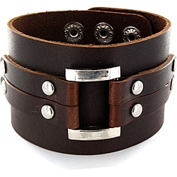 West Coast Jewelry Adjustable Brown Wide Leather and Polished Buckle Cuff Bracelet