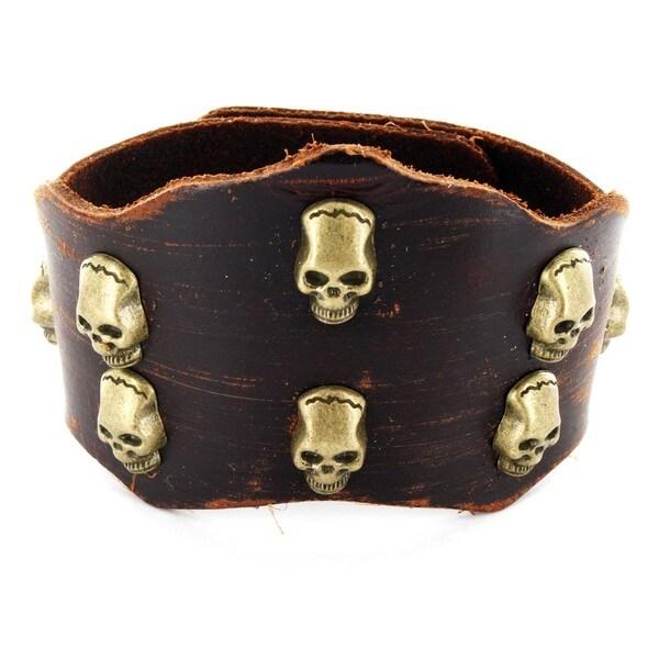 Brown Leather Coppertone Skull Bracelet
