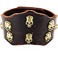 Brown Leather Coppertone Skull Bracelet