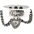 White Leather Cubic Zirconia Heart Lock and Chain Bracelet