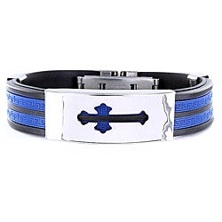 Stainless Steel and Rubber Cross Cutout ID Bracelet