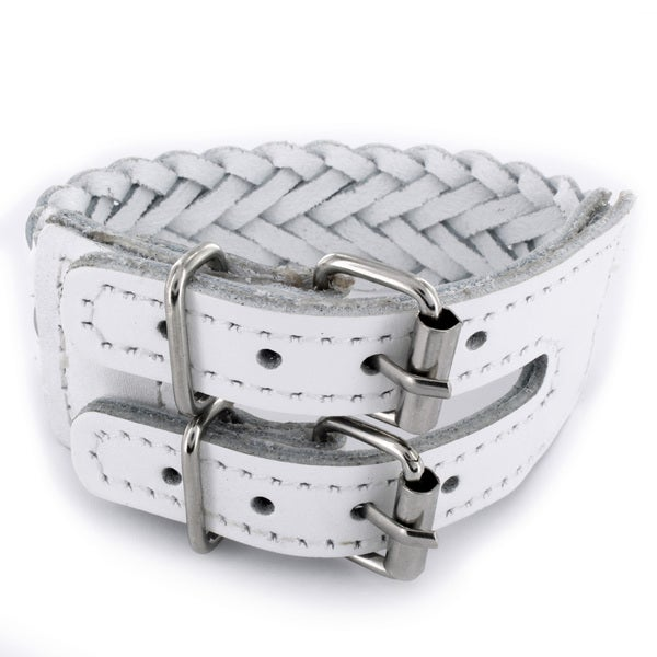 White Woven Leather Double Buckle Bracelet