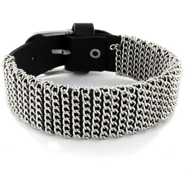 Black Leather Chain Wrapped Snap Bracelet