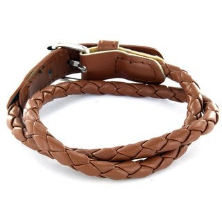 Leather Chocolate Colored Woven Bracelet