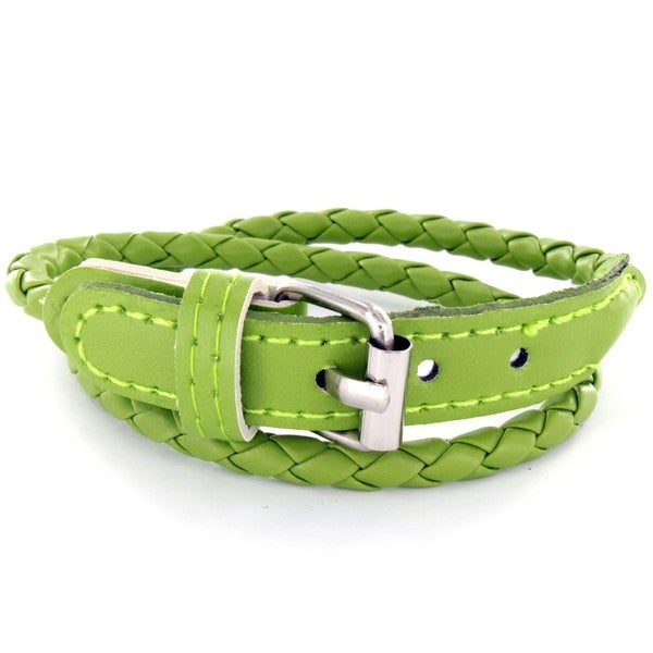 Lime Green Leather Woven Bracelet