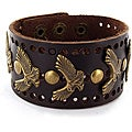 Brown Leather Eagle and Round Stud Bracelet