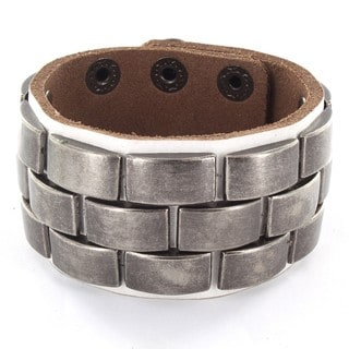 White Leather and Metal Accent Bracelet