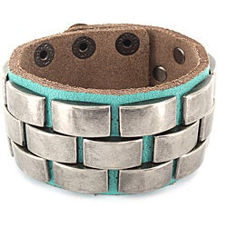 Turquoise Leather and Metal Accent Bracelet