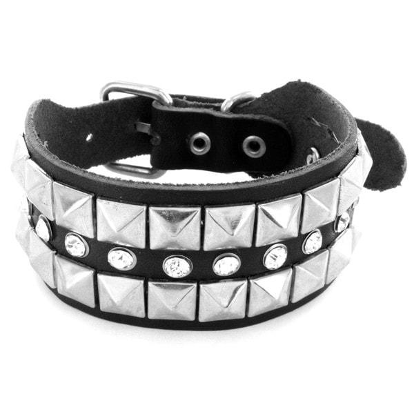 Black Leather Pyramid Stud and Cubic Zirconia Bracelet