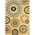 Cream Abstract Circles Rug (5'3 x 7'5)