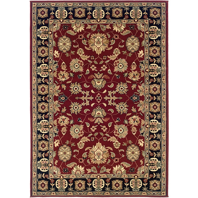 "Red/Black Traditional Oriental Rug (7'9"" x 9'9"")"