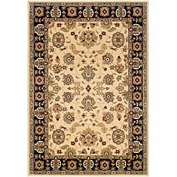 LNR Home Adana Cream/ Black Oriental Rug (5'3 x 7'5)