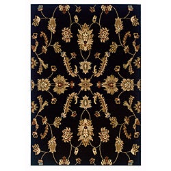 LNR Home Adana Black Floral Area Rug (5'3 x 7'5)