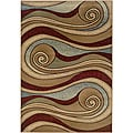 Brown/Blue Swirls Abstract Rug (7'9 x 9'9)