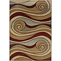 Brown/Blue Swirls Abstract Rug (5'3 x 7'5)