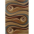 Gold/Brown Swirls Abstract Runner Rug (2'2 x 7'1)