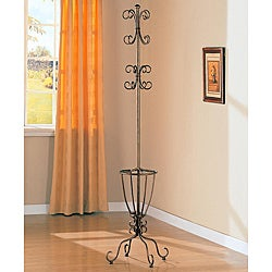 Antique Gold Metal Coat Rack with Umbrella Stand