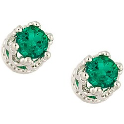 Sterling Silver Green Crystal Earrings