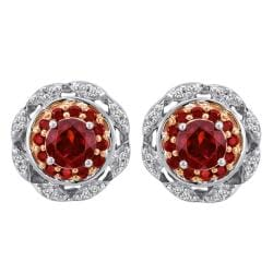 Sterling Silver 1/3ct TDW Diamond and Garnet Earrings (I-J, I2-I3)