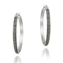 Glitzy Rocks Sterling Silver Marcasite 35-mm Hoop Earrings
