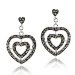 Glitzy Rocks Sterling Silver Marcasite Double Heart Earrings