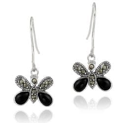 Glitzy Rocks Sterling Silver Marcasite and Onyx Butterfly Dangle Earrings