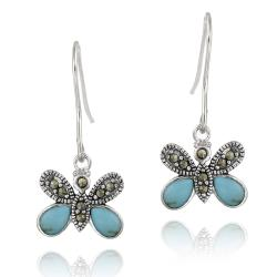 Glitzy Rocks Sterling Silver Marcasite and Created Turquoise Butterfly Earrings