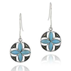 Glitzy Rocks Silver Marcasite and Created Turquoise Round Flower Dangle Earrings