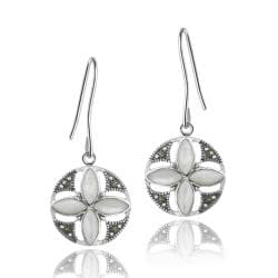 Glitzy Rocks Silver Marcasite and Mother of Pearl Round Flower Dangle Earrings