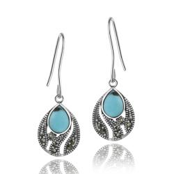 Glitzy Rocks Sterling Silver Marcasite and Created Turquoise Teardrop Earrings