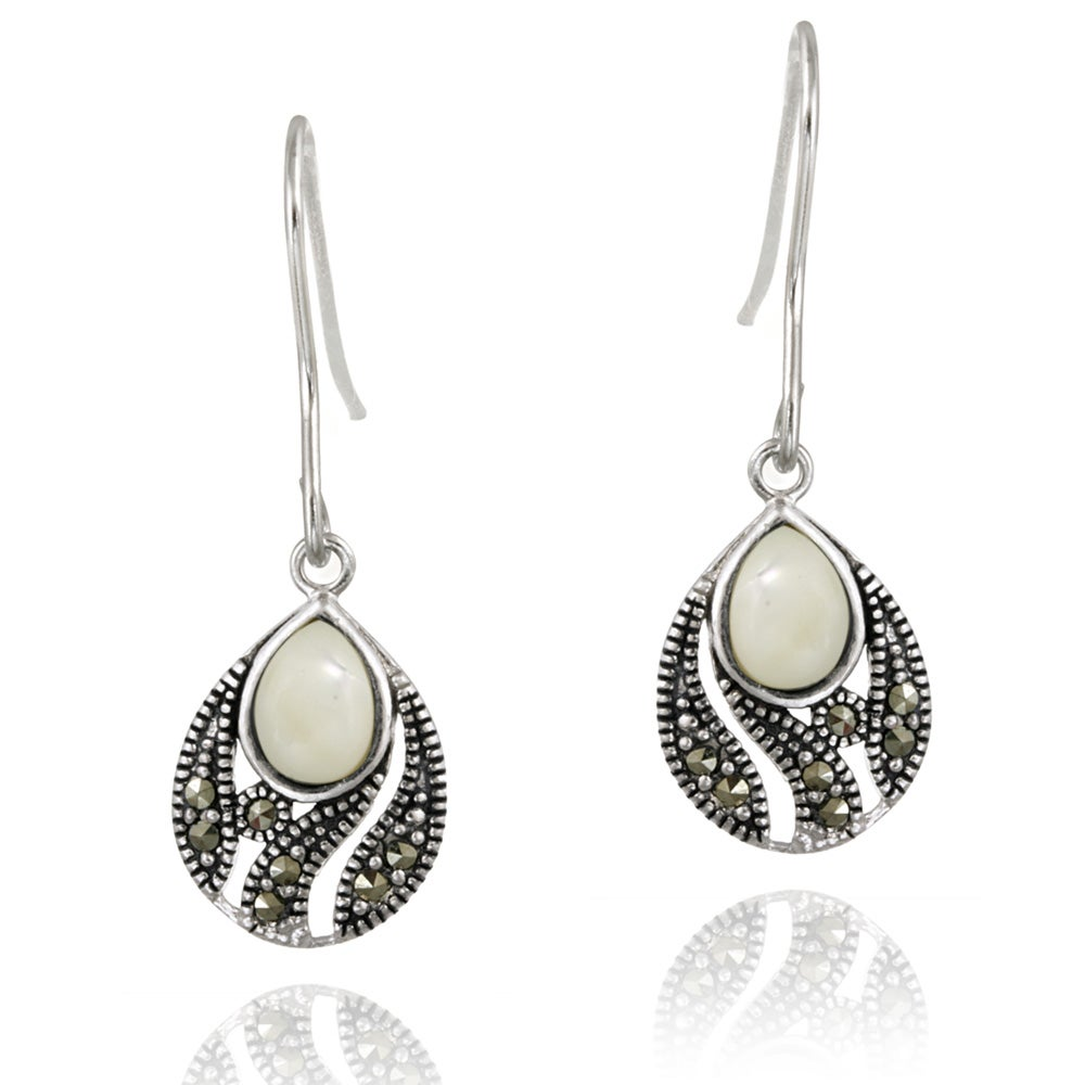 Glitzy Rocks Silver Marcasite and Mother of Pearl Teardrop Dangle Earrings